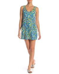 J Valdi Paisley Print Scoop Neck Dress - Blue