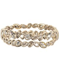 Alexis Bittar Double Row Crystal Hinged Bracelet In Gold At Nordstrom Rack - Metallic