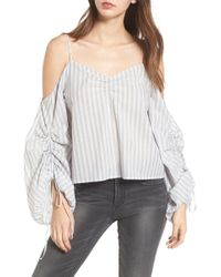 Lush - Cinched Balloon Sleeve Top - Lyst
