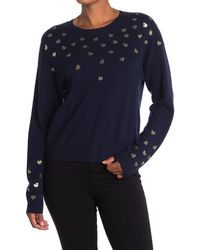 Autumn Cashmere Metallic Hearts Crew Neck Cashmere Sweater - Blue