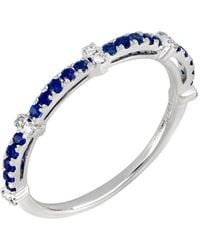 Bony Levy 18k White Gold Pave Sapphire & Diamond Stackable Band Ring - Metallic