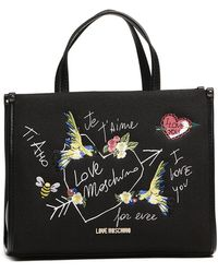 Love Moschino | Embroidered Canvas Tote Bag | Lyst