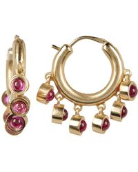Elizabeth and James - Yellow Gold Plated Created Ruby Accent Ansley Hoop Earrings - Lyst