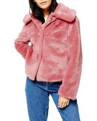 TOPSHOP Pink Faux Fur Button Coat - Multicolor