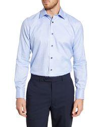 David Donahue Woven Checkered Classic Fit Dress Shirt - Blue