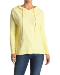 Wit & Wisdom Ribbed Knit Drawstring Hoodie - Yellow