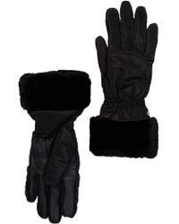UGG Genuine Dyed Shearling Trim Tech Gloves - Black