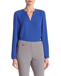 Adrianna Papell - Long Sleeve Crepe Tunic Blouse - Lyst