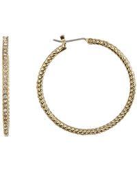 Cole Haan - 12k Gold Plated Pave Cz 25mm Milgrain Hoop Earrings - Lyst