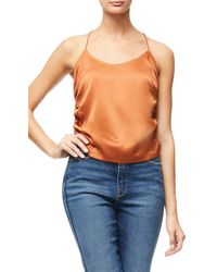 GOOD AMERICAN Ruched Satin Camisole - Blue