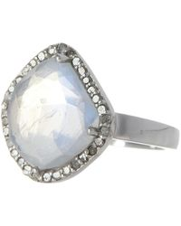 Adornia Moonstone & Diamond Rose Cut Halo Ring - 0.40 Ctw - White