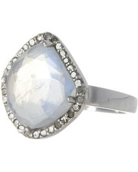 Adornia Moonstone & Diamond Rose Cut Halo Ring - White