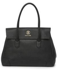 Roberto Cavalli Large Top Handle Leather Tote Bag - Black