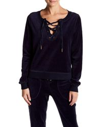 Betsey Johnson - Lace Up Velour Pullover - Lyst