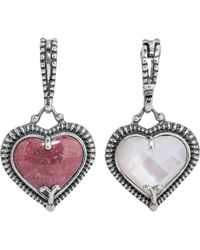 Relios Sterling Silver Mixed Stone Heart Shaped Pendant Charm - Metallic