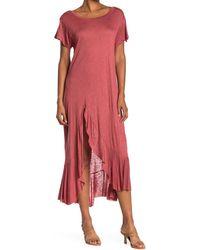 West Kei Slub Knit Maxi T-shirt Dress - Pink
