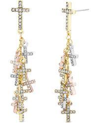Steve Madden - Dangling Cross Gold-tone And Silver-tone Drop Earrings - Lyst