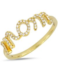 Bony Levy - 18k Yellow Gold Pave Diamond Mom Detail Ring - Lyst