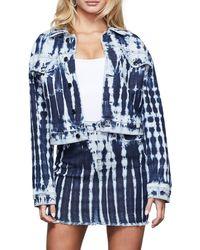GOOD AMERICAN Tie-dye Crop Denim Jacket - Blue