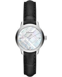 Burberry - Women's Classic Round Diamond Leather Strap - 0.022 Ctw - Lyst
