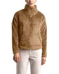 The North Face Plush Fleece Quarter Zip Pullover - Brown