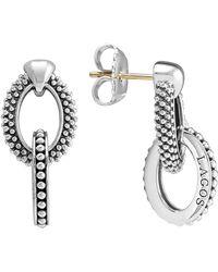 Lagos Sterling Silver Oval Caviar & Beaded Earrings - Metallic