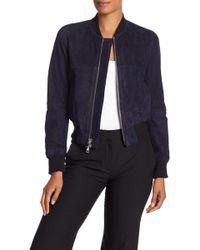 Theory - Daryette Lamb Suede Bomber Jacket - Lyst
