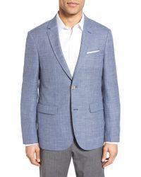 Sand - Trim Fit Check Wool & Linen Sport Coat - Lyst