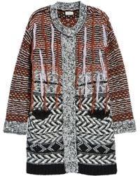 Caslon (r) Multi Jacquard Sweater Coat - Black