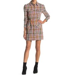 Veronica Beard Corinne Plaid Linen Blend Shirt Dress - Red