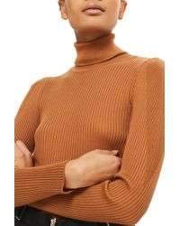 TOPSHOP - Puff Sleeve Ribbed Turtleneck - Lyst