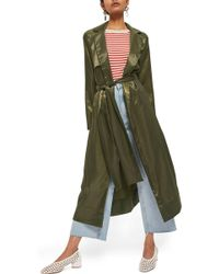 TOPSHOP - Belted Satin Duster Coat - Lyst