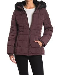 Calvin Klein Faux Fur Trimmed Quilted Puffer Jacket - Purple