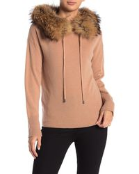 Magaschoni Genuine Fox Fur Trim Cashmere Hoodie - Multicolor