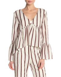 Lucca Couture - Bailey Striped V-neck Blouse - Lyst