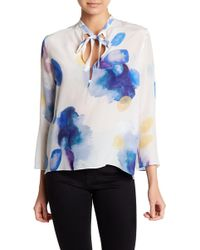 Cacharel | Split Neck Silk Blouse | Lyst