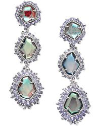Kendra Scott Aria Clip On Silver Statement Earrings - Multicolor