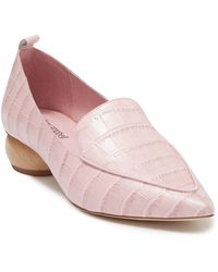 Jeffrey Campbell Vinny Pointed Toe Croc-embossed Leather Loafer - Pink