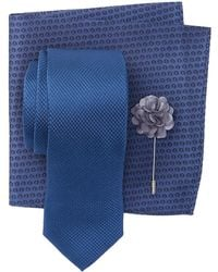 Ben Sherman - Silk Morris Solid Tie, Pocket Square, & Lapel Pin Set - Lyst
