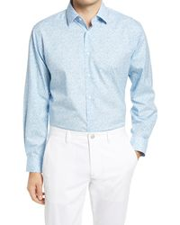 Nordstrom Floral Print Stretch Non-iron Traditional Fit Shirt - Blue