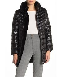 Karl Lagerfeld Faux Fur Collar Quilted Puffer Jacket - Black
