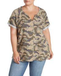 Cable & Gauge - Split V-neck Camo Print T-shirt (plus Size) - Lyst