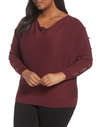 Sejour - Button Sleeve Jumper - Lyst