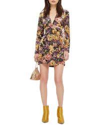 TOPSHOP - Plunge Floral Wrap Dress - Lyst