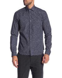 Culturata Camo Print Long Sleeve Contemporary Fit Shirt - Blue