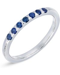 Bony Levy - 18k White Gold Scallop Set Blue Sapphire Stackable Band - Lyst