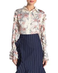 Gracia - Floral Printing Ruffle Sleeve Blouse - Lyst