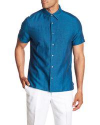 Perry Ellis - Solid Linen Blend Regular Fit Shirt - Lyst