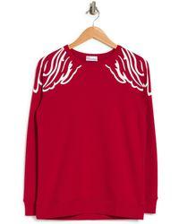 RED Valentino Printed Shoulder Pullover Sweatshirt - Red