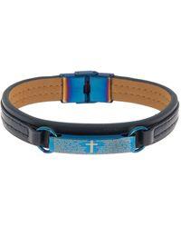 English Laundry Leather Braided Bracelet - Blue
